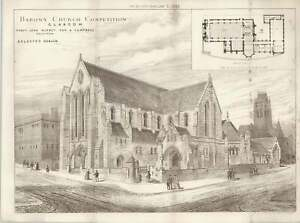 1887-Barony-Church-Competition-Glasgow-Selected-Design-Burnet-And-Campbell