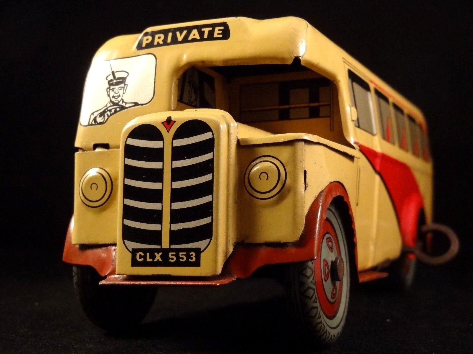 Ancien jouet bus car mécanique tôle WELLS lithographiée London 1940 50 CLX-553