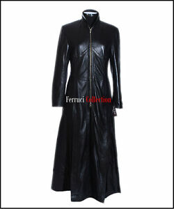 hot sale online 469e1 d748a Details zu Trinity Matrix Damen Schwarz Smart Lang Echtes Weiches Schaf  Nappa Leder Mantel
