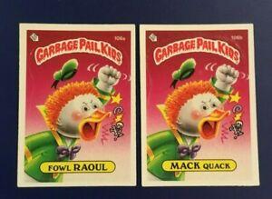 1986-Topps-106a-FOWL-RAUOL-amp-106b-MACK-QUACK-Lot-2-Garbage-Pail-Kids-GPK