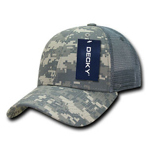 ACU Digital Camo Mesh Trucker Structured 6 Panel Decky Hat Curved ... 22ca1b7ad13