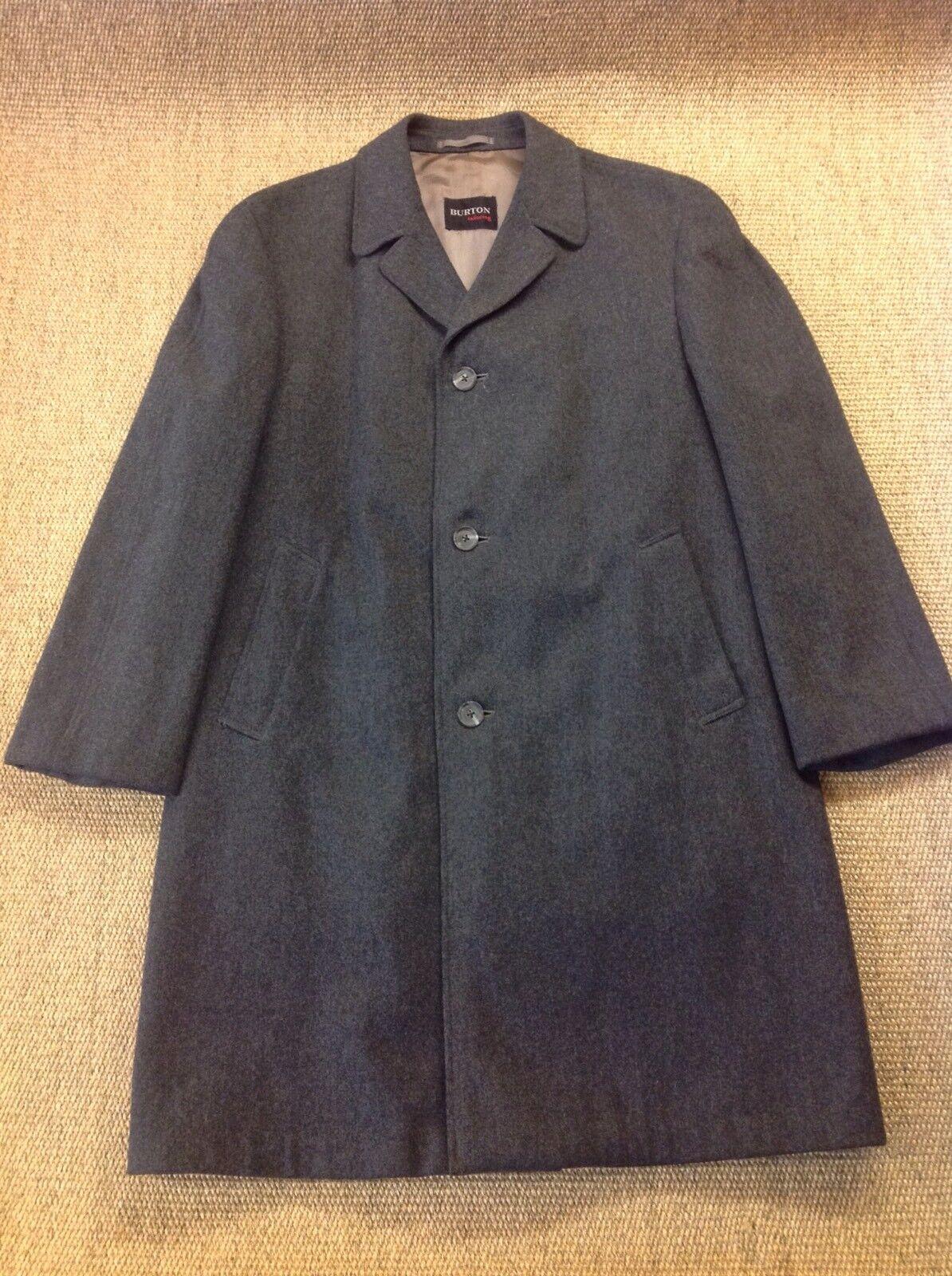 Men's BURTONS Small-Medium Vintage Dark Grey Crombie, Overcoat. Great Condition