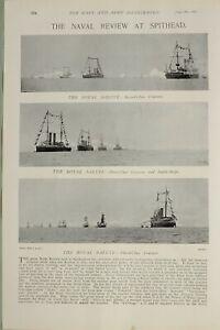1897-PRINT-NAVAL-REVIEW-SPITHEAD-ROYAL-SALUTE-BATTLESHIP-CRUISERS-TRAINING-SQUAD