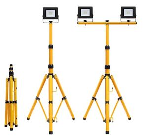 LED Flood Light Tripod Stand Camp Work Site Emergency Lamp Stand Single / Twin
