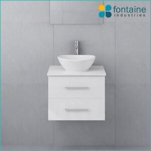 600 Bathroom Vanity Ceramic Basin Stone Top New Modern Ensuite Wall Mounted Ebay