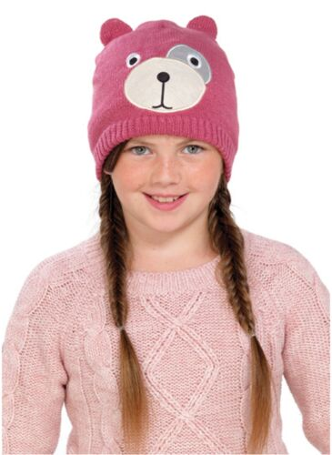 OCTAVE® Girls Knitted Teddy Bear Face Hat With Lurex For Added Sparkle!