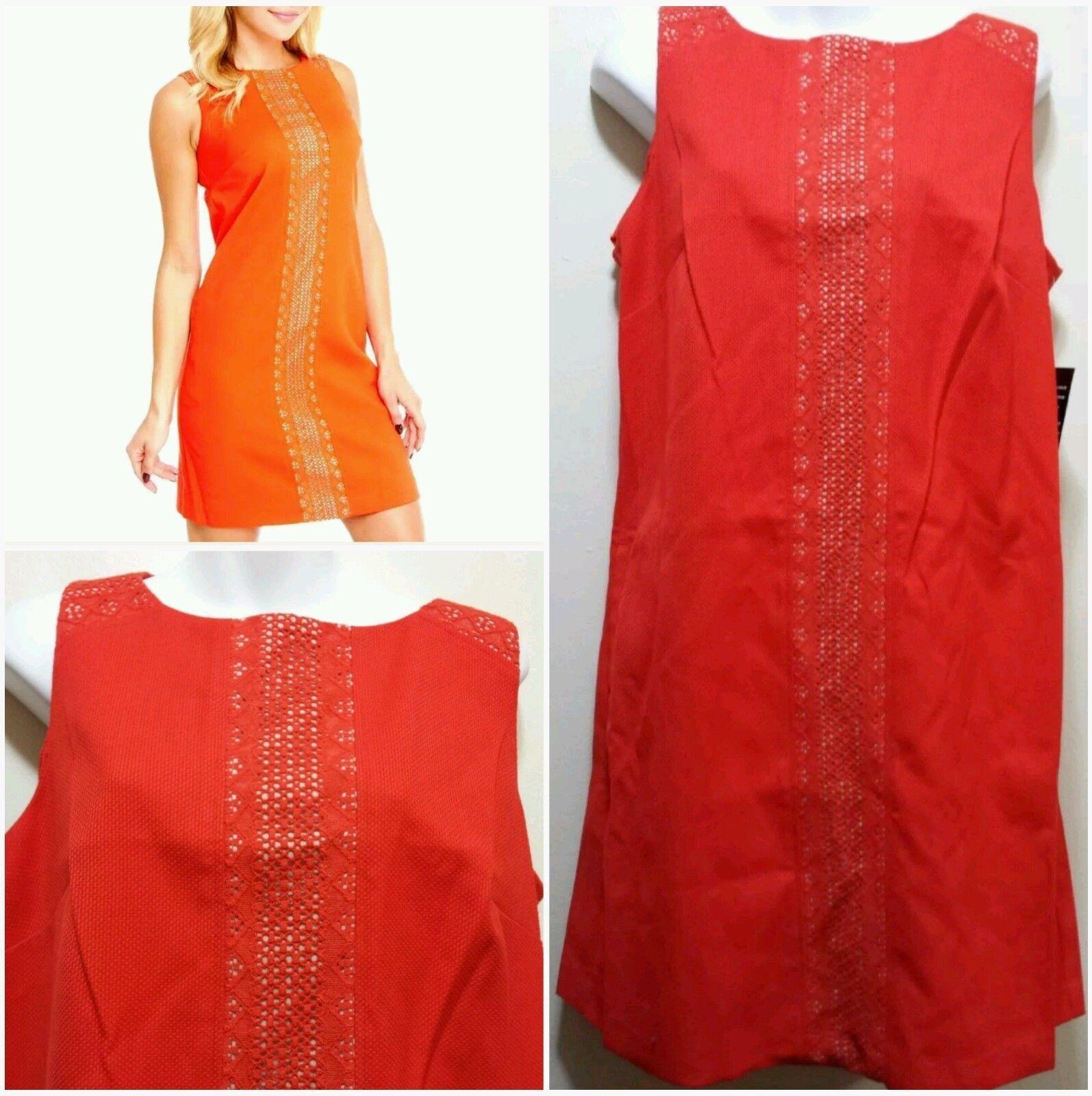 NINE WEST orange Crochet Trim Mini Day to Night Shift Dress  8  M3020