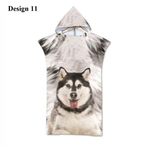 Gift Dog Corgi Pug Great Dane Husky Hooded Swim Beach Poncho Towel Changing Robe