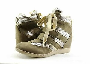 Women's Shoes Report Cosette High-Top Lace-up Wedge Sneakers Taupe/Silver *New*