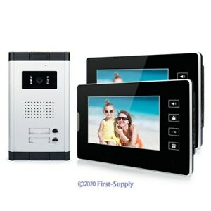"""Wired Video Door Phone Intercom Entry System 7/"""" Monitor For 2 Units Apartment"""