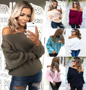 NEW-Womens-Ladies-Off-Shoulder-Ribbed-Knitted-Batwing-Jumper-Top-8-22