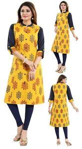 Women-Indian-Top-Cotton-Printed-Designer-Kurti-Tunic-Kurta-Shirt-Dress-MM-228