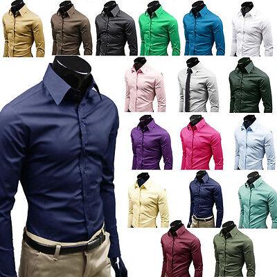 Men Plain Slim Fit Business Formal Shirt Long Sleeve Dress Collar Blouse Tops