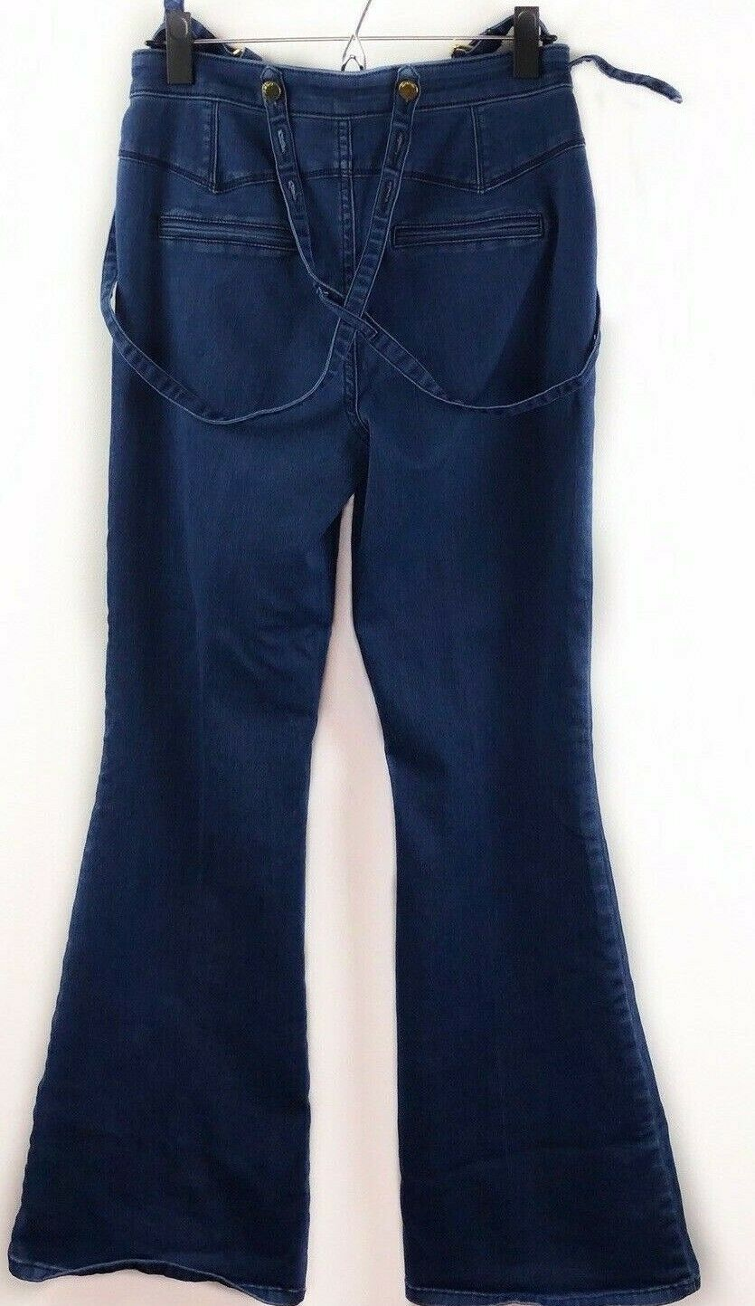 bebe Jeans 28 Dark Wash High Waist Suspender Triple Button Flare