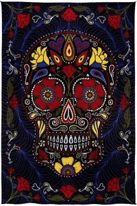 Image Is Loading New 3D Black Sugar Skull Bed Cover Tapestry
