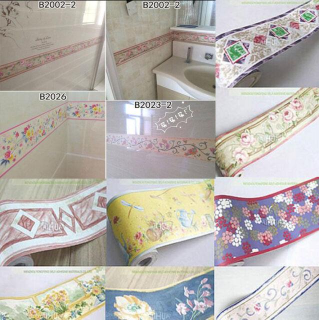 Tile Waistline Wall Paper Sticker Floor PVC Decal Home Decor Kitchen Bathroom