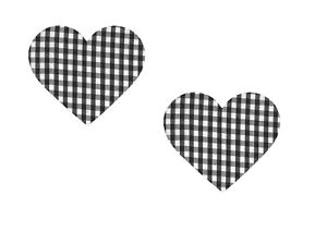 "GREEN 1//4/"" Gingham Iron//Sew on Knee//Elbow//Applique Patch Crafts Heart X2"