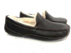 bdc4c81ced9 Details about UGG Australia Ascot China Tea Brown Leather Fur Slippers Mens  5379 Moccasins ~