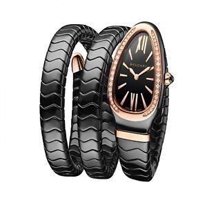 New Bulgari Serpenti Spiga Black Ceramic/18KRG Quartz Movement Watch 102885