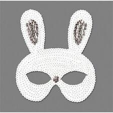 White Sequin Rabbit Eye Mask - Bunny Masquerade Fancy Dress New