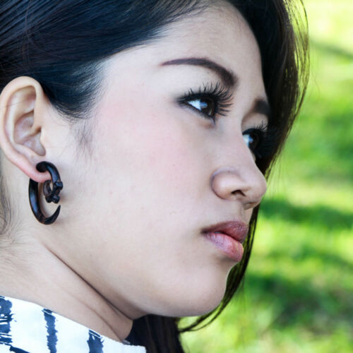 Fake Gauge Wood Ear Weights Faux Gauges Spiral Taper Ethnic Cheater Earrings