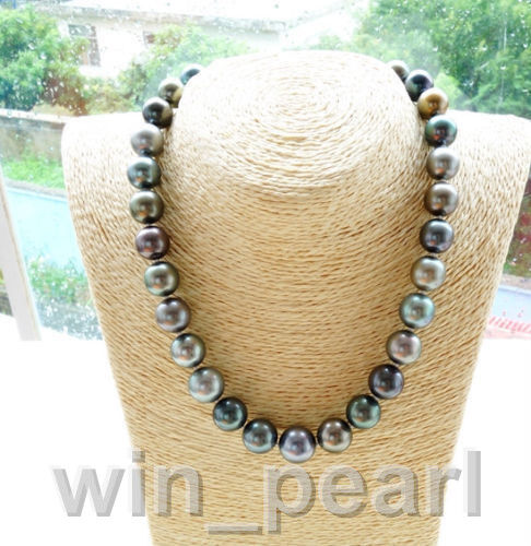 stunning11-12mm south sea round multicolor pearl necklace 18inch