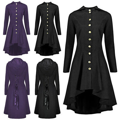 Womens Fashion Stand Collar Vintage Steampunk Long Coat Gothic Overcoat Ladies Winter Retro Jacket Outwear