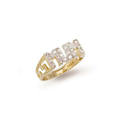 9ct gold Hallmarked Stone set ' MUM ' ring with GENUINE DIAMONDS - SIZE N ONLY