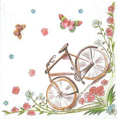 2 Serviettes en papier Vélo Papillon Decoupage Paper Napkins Bike Butterfly