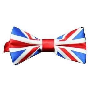 Silky Satin Luxury Adjustable Union Jack Flag Bow Tie Classic Tuxedo Party UK