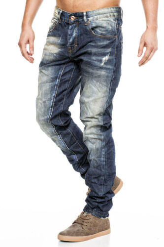 One PUBLIC Hommes Jeans Pantalon Chino Clubwear Bleu DETERIORE Cargo Look Neuf