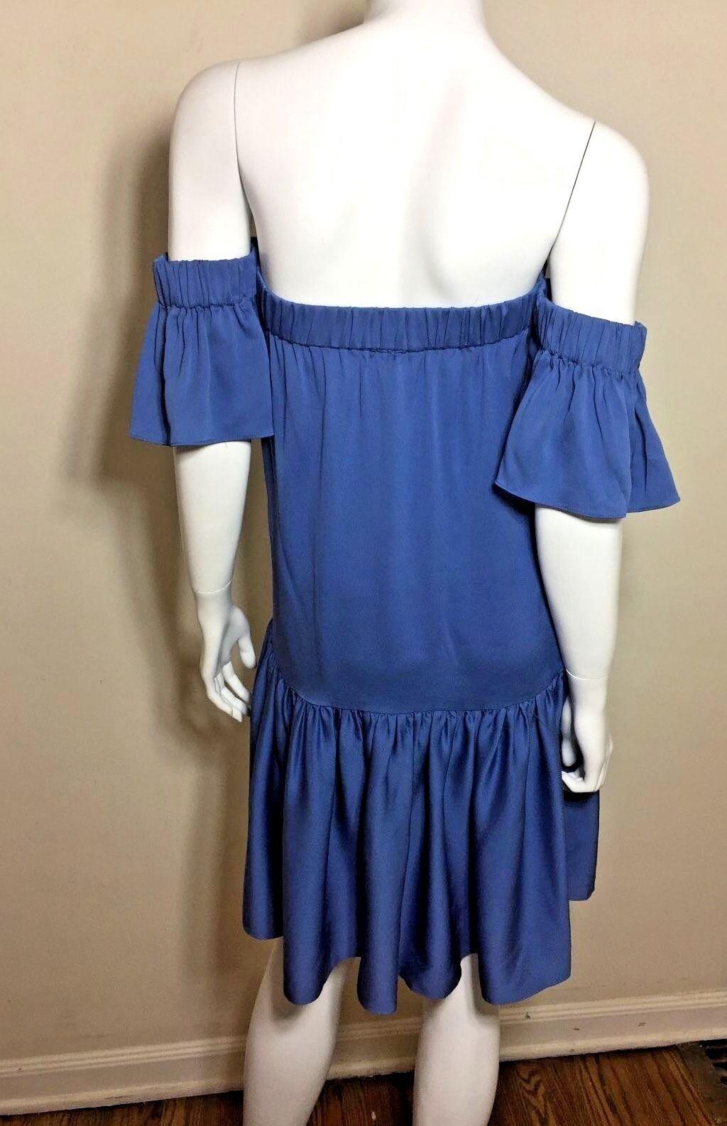 NWT Milly Off The Shoulder Shoulder Shoulder Flutter Dress in Steel bluee Size P  450.00 6588f9