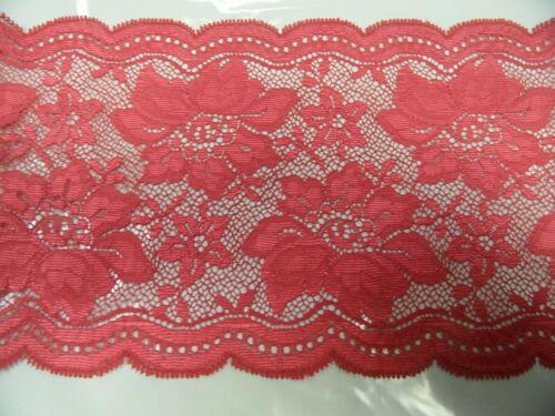 Spitzenband elastisch  ca 13  cm breit je 50 cm himbeere BW-Mischung