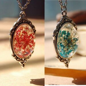 Natural Crystal Women Fashion Flower Chain Necklace Dried Jewelry Pendant