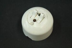 alter Serienschalter Aufputz art deco weiß Lichtschalter Kippschalter rund