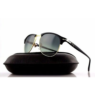 New Authentic PERSOL Black Pale Gold Grey Aviator Sunglasses PO 8649-S 95/71