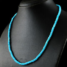 100% Genuine 76.50 Cts Natural 20 Inches Turquoise Round Cut Beads Necklace