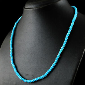 100-Genuine-76-50-Cts-Natural-20-Inches-Turquoise-Round-Cut-Beads-Necklace