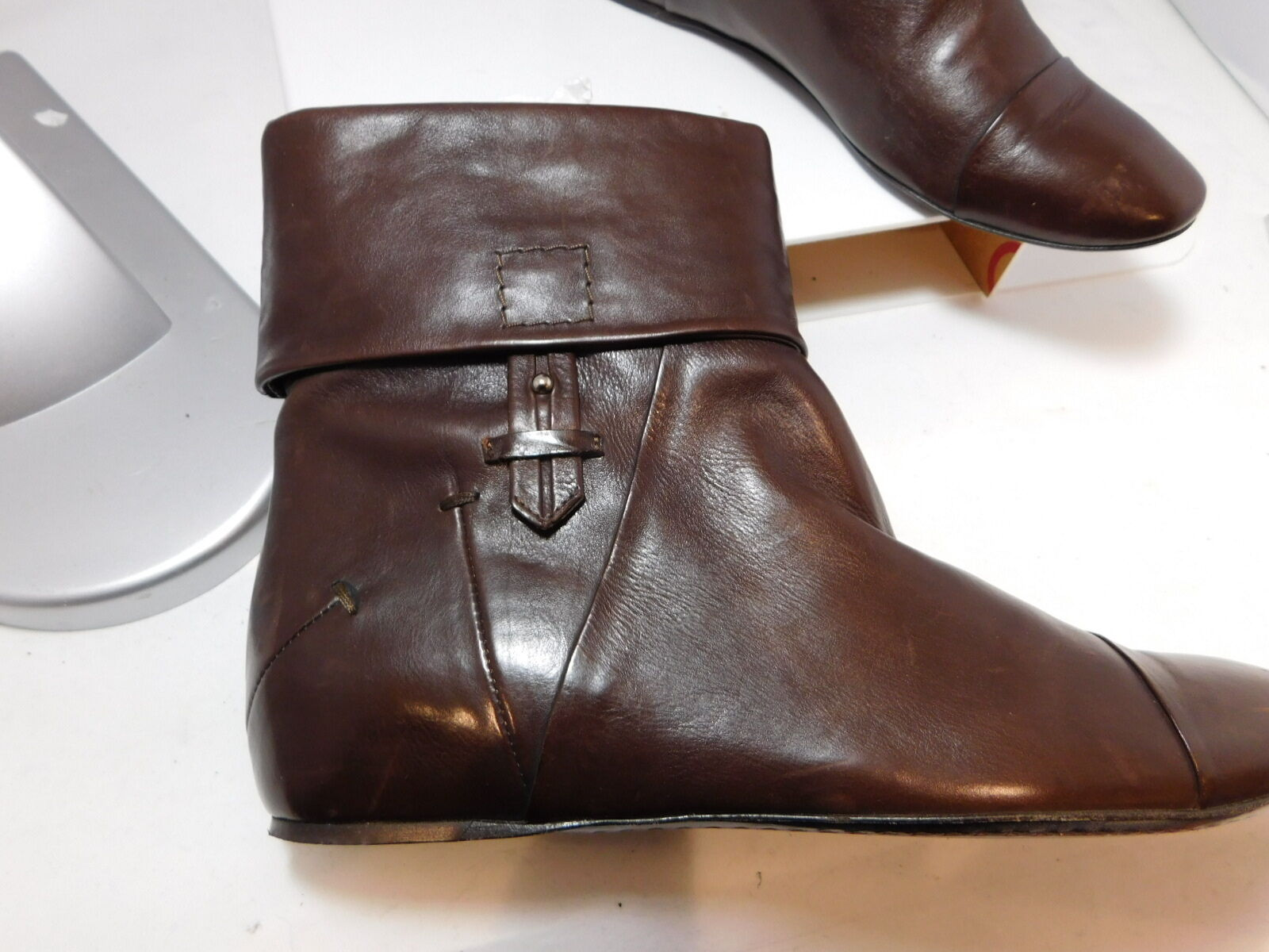 COSTUME NATIONAL Brown Soft Leather Folded Cuff Booties Ankle Boots US 6.5