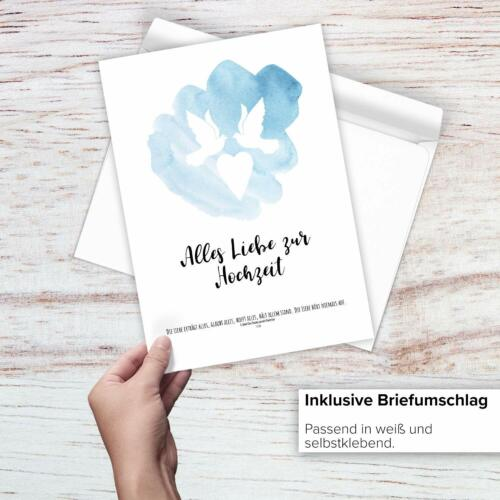 Große Glückwunsch-Karte Hochzeit XXL A4 Umschlag Klappkarte Gruss-Karte Tauben