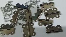 10 24x20mm NP ACCIAIO in miniatura piccole cerniere & VITI casa delle bambole gioielli BO