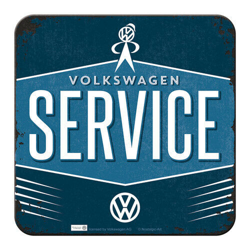 Retro Metal Coaster VW SERVICE 9x9cm with Cork base Volkswagen Licensed Product