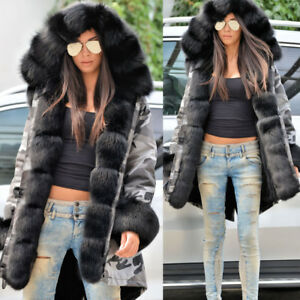 Jackets Coat Collar Grey Lined Warm Winter Parkas Camouflage Hooded Kvinders Fur xwS6vqBx7