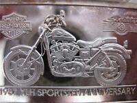 1.4-OZ.999 PURE SILVER 1987 SPORTSTER HARLEY DAVIDSON 90TH ANNIVERSARY BAR INGOI