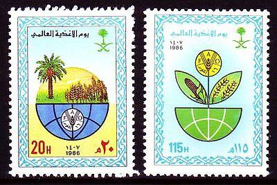Saudi-arabien Mittlerer Osten Liberal Saudi Arabia 1986 ** Mi.857/58 World Food Day Fao Ernährung Professionelles Design