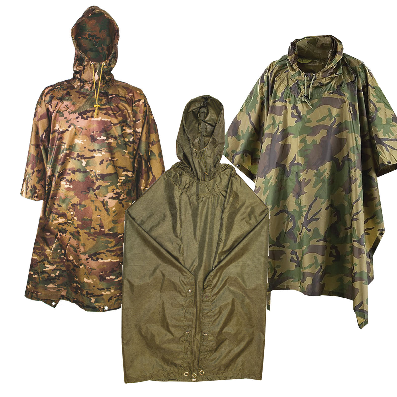 Ripstop Adventure Poncho/ Or Emergency Shelter HTMC/MTP Camo Olive Army SAS PARA