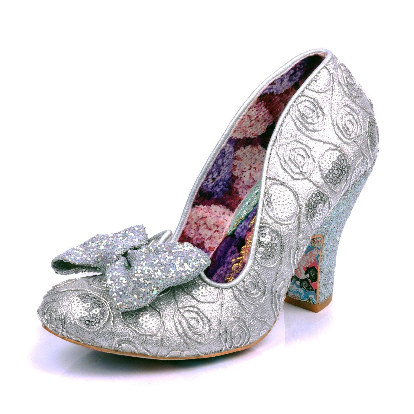 Irregular Choice NEW Nick Of Time argent glitter métallisé talon haut Chaussures SZ 3-9