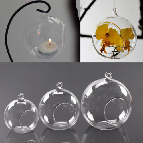 6 Glass Opening Baubles Spheres Candle Tealight Plants Hanging Ball Holder Clear