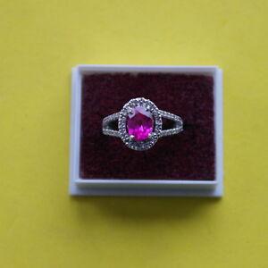 2-00-Carat-14KT-White-Gold-Natural-Pink-Tourmaline-amp-EGL-Certified-Diamond-Ring