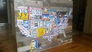 License Plate Wall Art United States Map Hand Made With Authentic - Us-map-made-out-of-license-plates